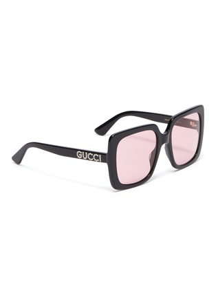 Figure View - Click To Enlarge - GUCCI - Glass crystal logo acetate square sunglasses