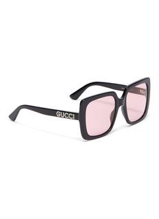 Gucci Glass crystal logo acetate square sunglasses