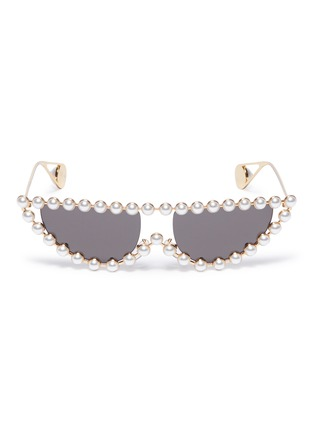 Main View - Click To Enlarge - GUCCI - Glass pearl metal cat eye sunglasses