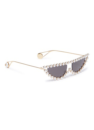 bc1c711bba0 Figure View - Click To Enlarge - Gucci - Glass pearl metal cat eye  sunglasses