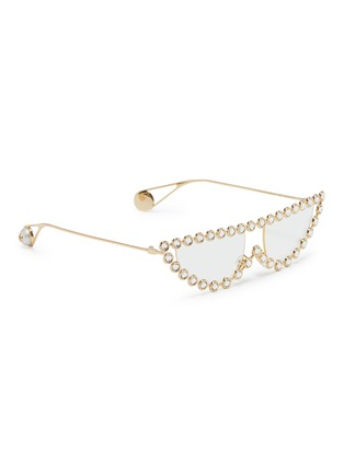 Figure View - Click To Enlarge - GUCCI - Glass crystal metal cat eye sunglasses