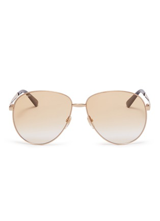 Main View - Click To Enlarge - GUCCI - Metal aviator sunglasses