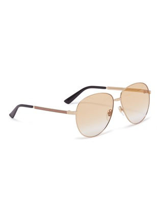Figure View - Click To Enlarge - GUCCI - Metal aviator sunglasses