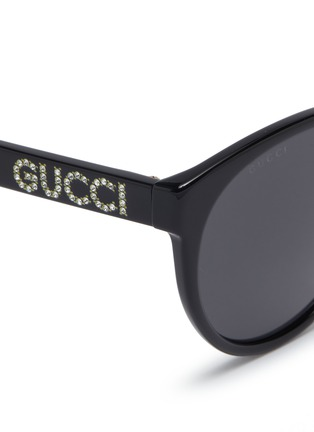 Detail View - Click To Enlarge - GUCCI - Glass crystal logo acetate round sunglasses