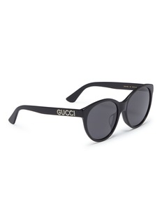 Gucci Glass crystal logo acetate round sunglasses