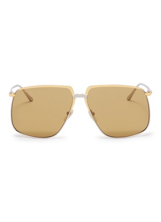 Main View - Click To Enlarge - GUCCI - Contrast metal square sunglasses