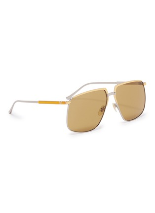 Figure View - Click To Enlarge - GUCCI - Contrast metal square sunglasses