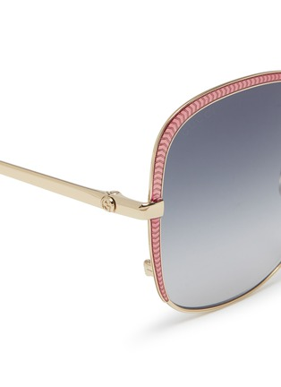 Detail View - Click To Enlarge - GUCCI - Contrast corner metal oversized square sunglasses