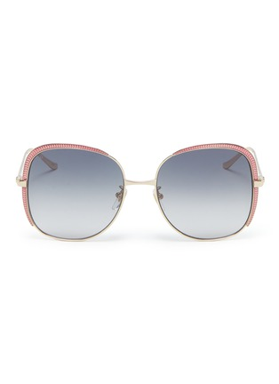 Main View - Click To Enlarge - GUCCI - Contrast corner metal oversized square sunglasses