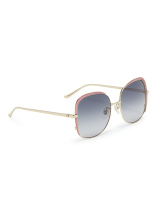 Figure View - Click To Enlarge - GUCCI - Contrast corner metal oversized square sunglasses