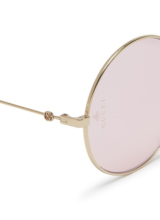 Detail View - Click To Enlarge - GUCCI - Metal round sunglasses