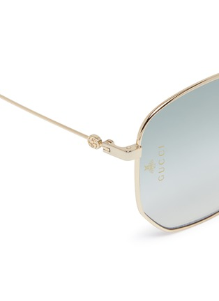 Detail View - Click To Enlarge - GUCCI - Metal oversized angular frame sunglasses