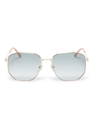 Main View - Click To Enlarge - GUCCI - Metal oversized angular frame sunglasses
