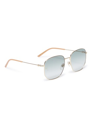 Figure View - Click To Enlarge - GUCCI - Metal oversized angular frame sunglasses