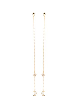 Main View - Click To Enlarge - Cloverpost - 'Night Whirl' glass crystal star moon drop earrings