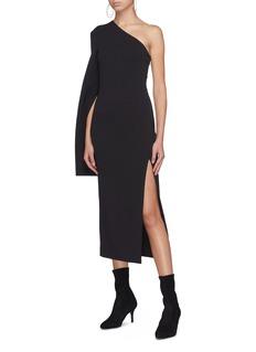 Solace London 'Amora' flared sleeve one-shoulder dress