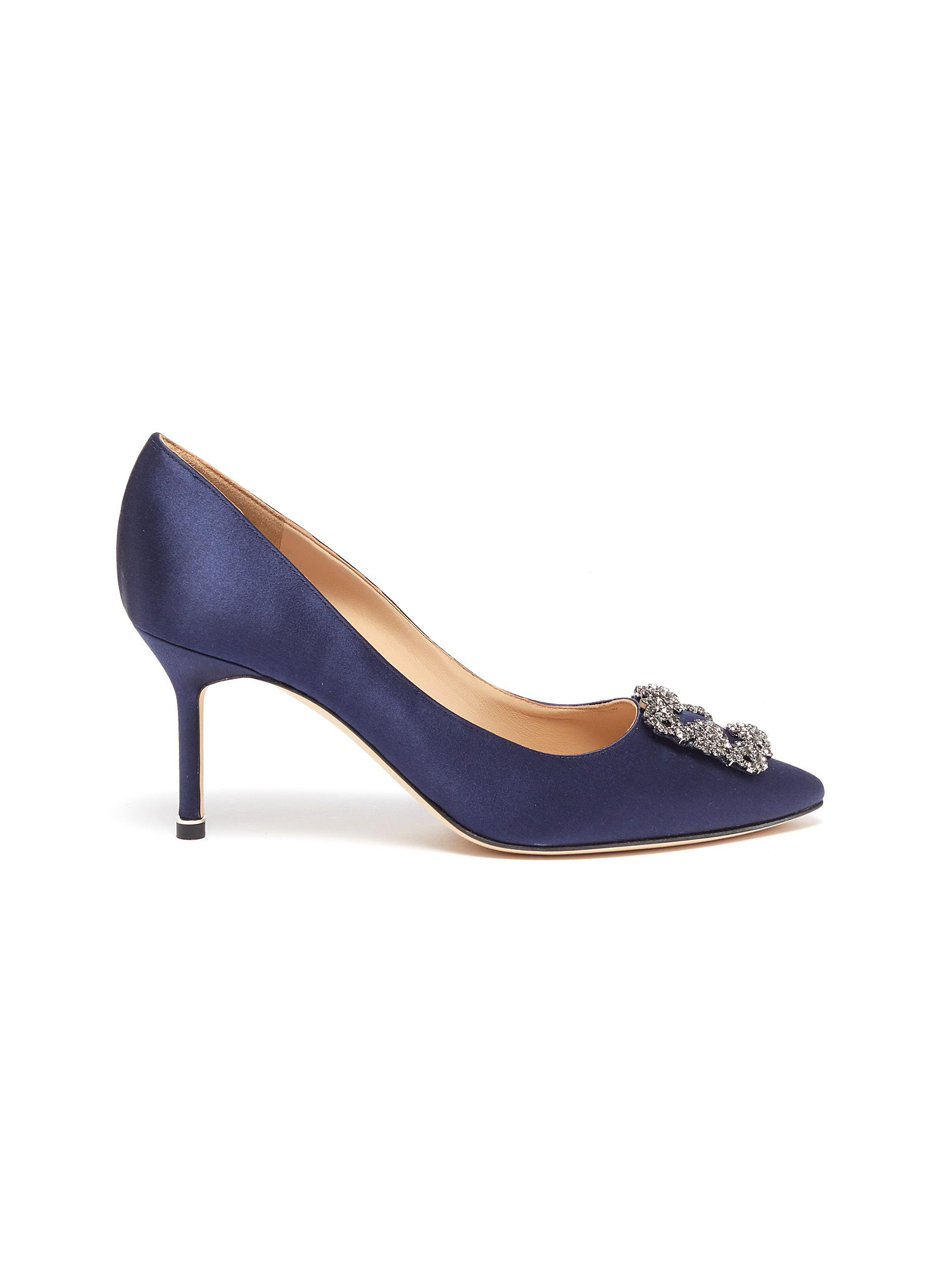 Hangisi 70 Swarovski crystal brooch satin pumps by Manolo Blahnik