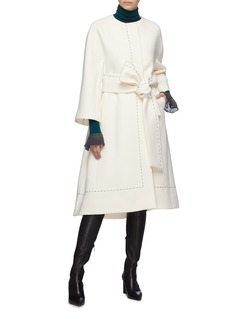 Comme Moi Contrast topstitching belted wool coat