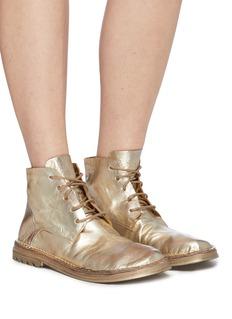 Marsèll 'Fungaccio' metallic lace-up creased leather ankle boots