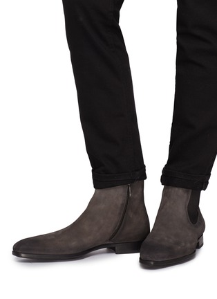Figure View - Click To Enlarge - Magnanni - Zip suede Chelsea boots