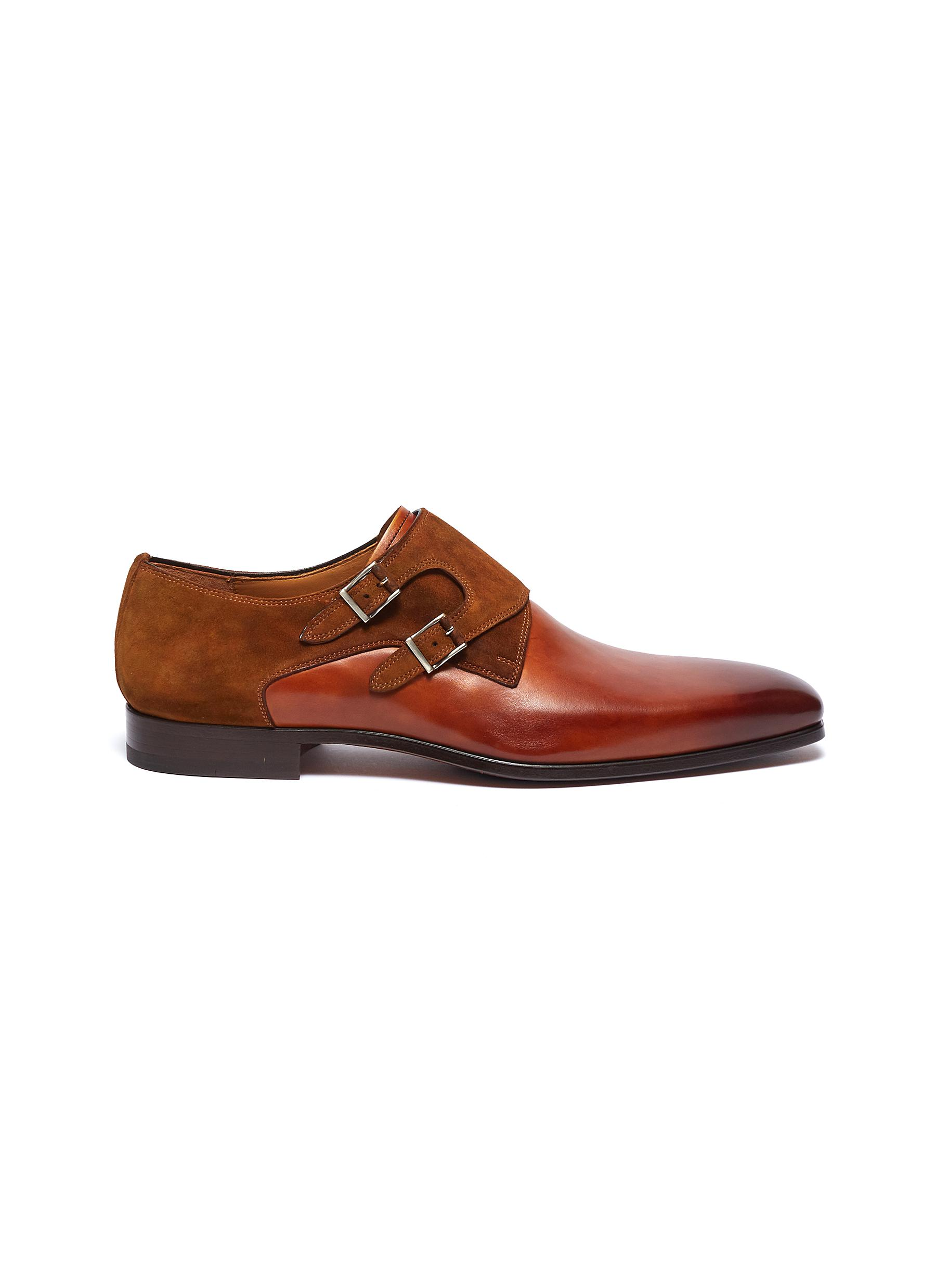 63ac8743fc3 Magnanni. Suede panel double monk strap leather shoes