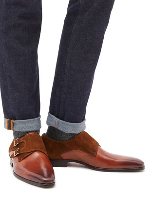 1358ca9c85f Figure View - Click To Enlarge - Magnanni - Suede panel double monk strap leather  shoes
