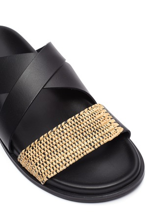 Detail View - Click To Enlarge - CASABLANCA1942 - 'Yako' raffia panel cross band leather sandals