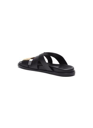 - CASABLANCA1942 - 'Yako' raffia panel cross band leather sandals