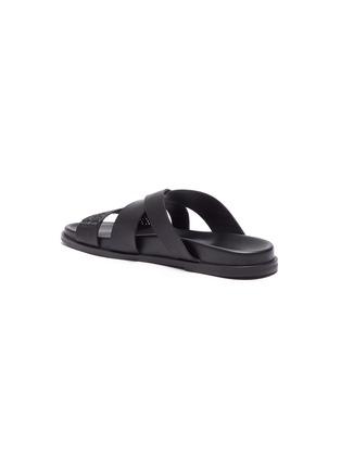 - CASABLANCA1942 - 'Yako' raffia panel cross strap leather sandals