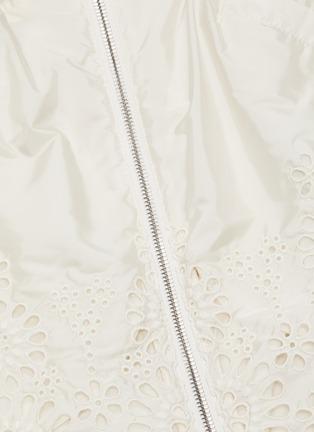 - MONCLER - 'Brazzaville' floral lace trim drawstring waist hooded parka