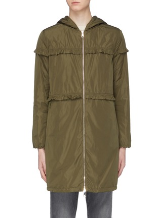 Main View - Click To Enlarge - MONCLER - 'Luxembourg' ruffle trim hooded down coat