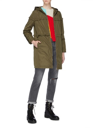Figure View - Click To Enlarge - MONCLER - 'Luxembourg' ruffle trim hooded down coat