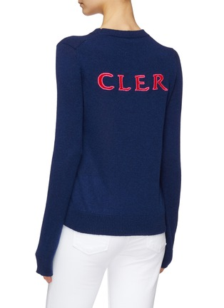 Back View - Click To Enlarge - MONCLER - Logo intarsia cashmere sweater