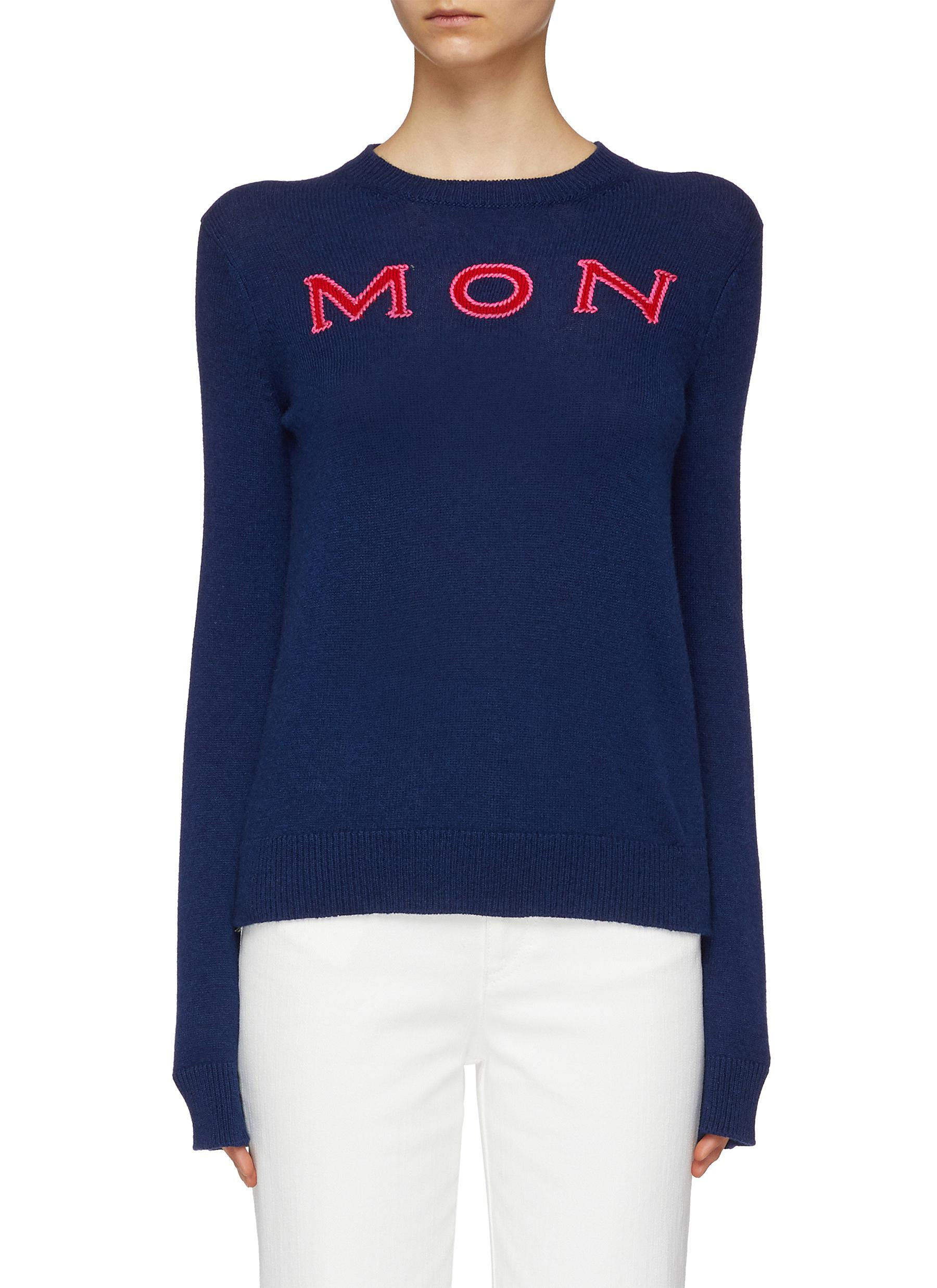 Buy Moncler Knitwear Logo intarsia cashmere sweater