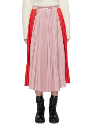Main View - Click To Enlarge - MONCLER - Colourblock pleated midi skirt