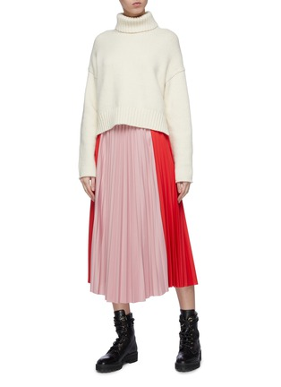 Figure View - Click To Enlarge - MONCLER - Colourblock pleated midi skirt