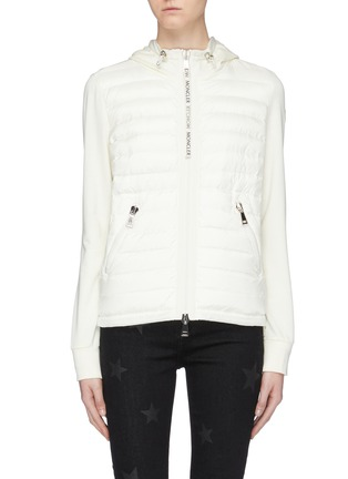Main View - Click To Enlarge - MONCLER - 'Maglia' down puffer front panel zip hoodie