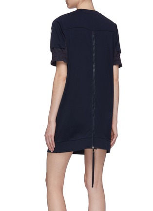 Back View - Click To Enlarge - MONCLER - Patchwork sleeve zip back sweatshirt dress