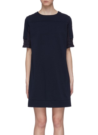 Main View - Click To Enlarge - MONCLER - Patchwork sleeve zip back sweatshirt dress