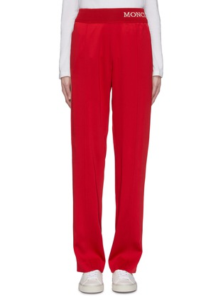 Main View - Click To Enlarge - MONCLER - Stripe outseam logo waistband sweatpants