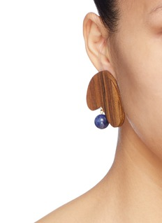 Sophie Monet 'The Deia' sculptural wood bead drop earrings