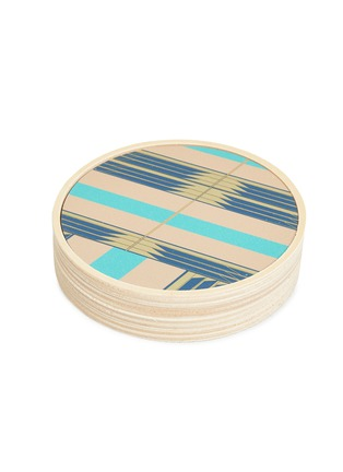 Detail View - Click To Enlarge - Wolfum - Sybil coaster set –Sand/Turquoise Brass