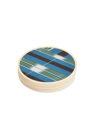 Detail View - Click To Enlarge - Wolfum - Graphic coaster set –Blue Mirror