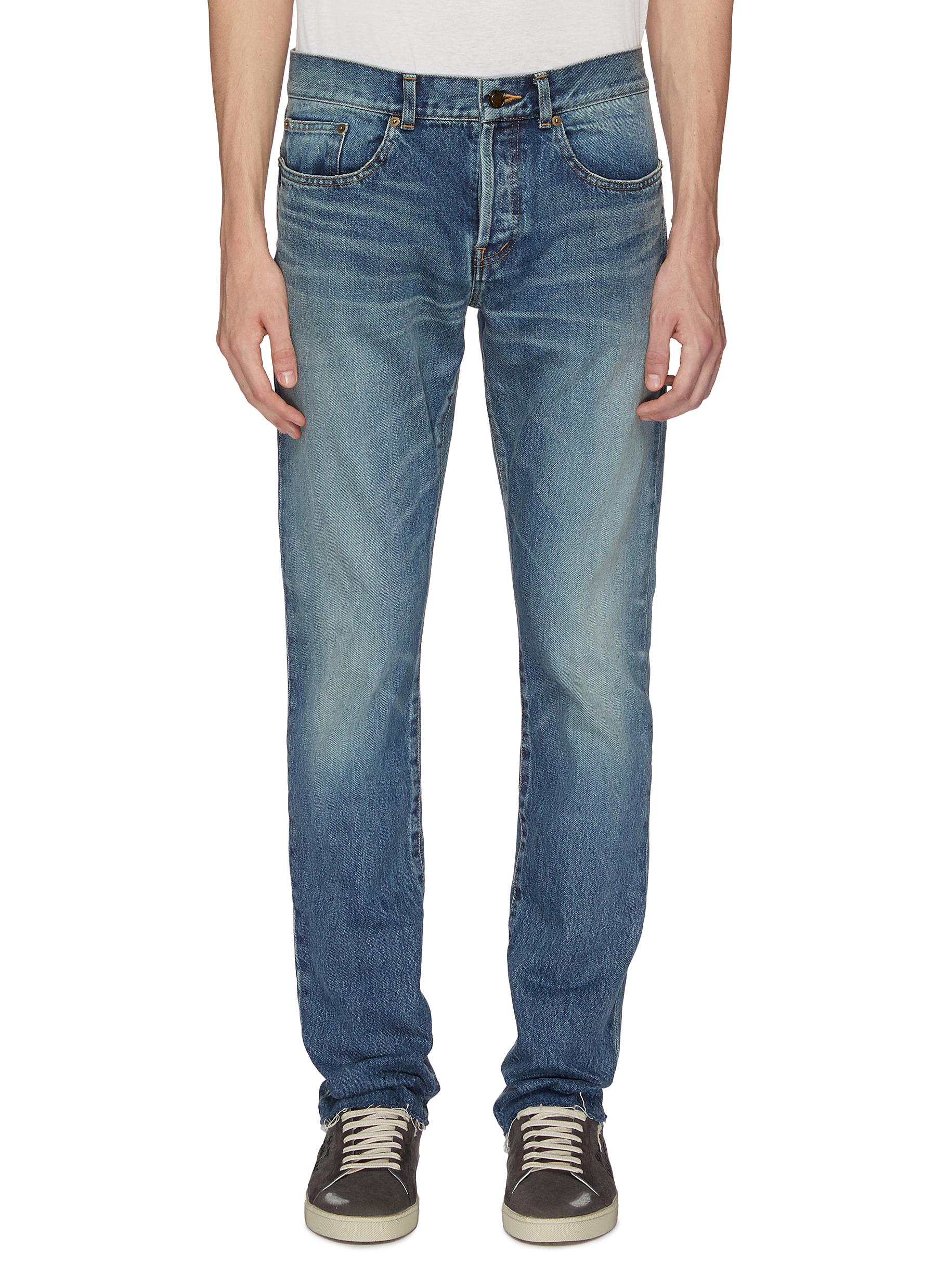 45380053 Main View - Click To Enlarge - SAINT LAURENT - Bandana panel ripped jeans