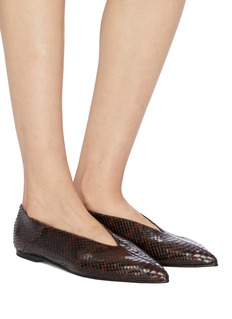 aeyde 'Moa' snake embossed choked-up leather flats