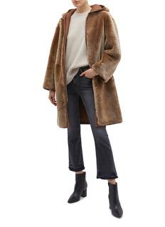 Theory Reversible hooded lambskin shearling coat