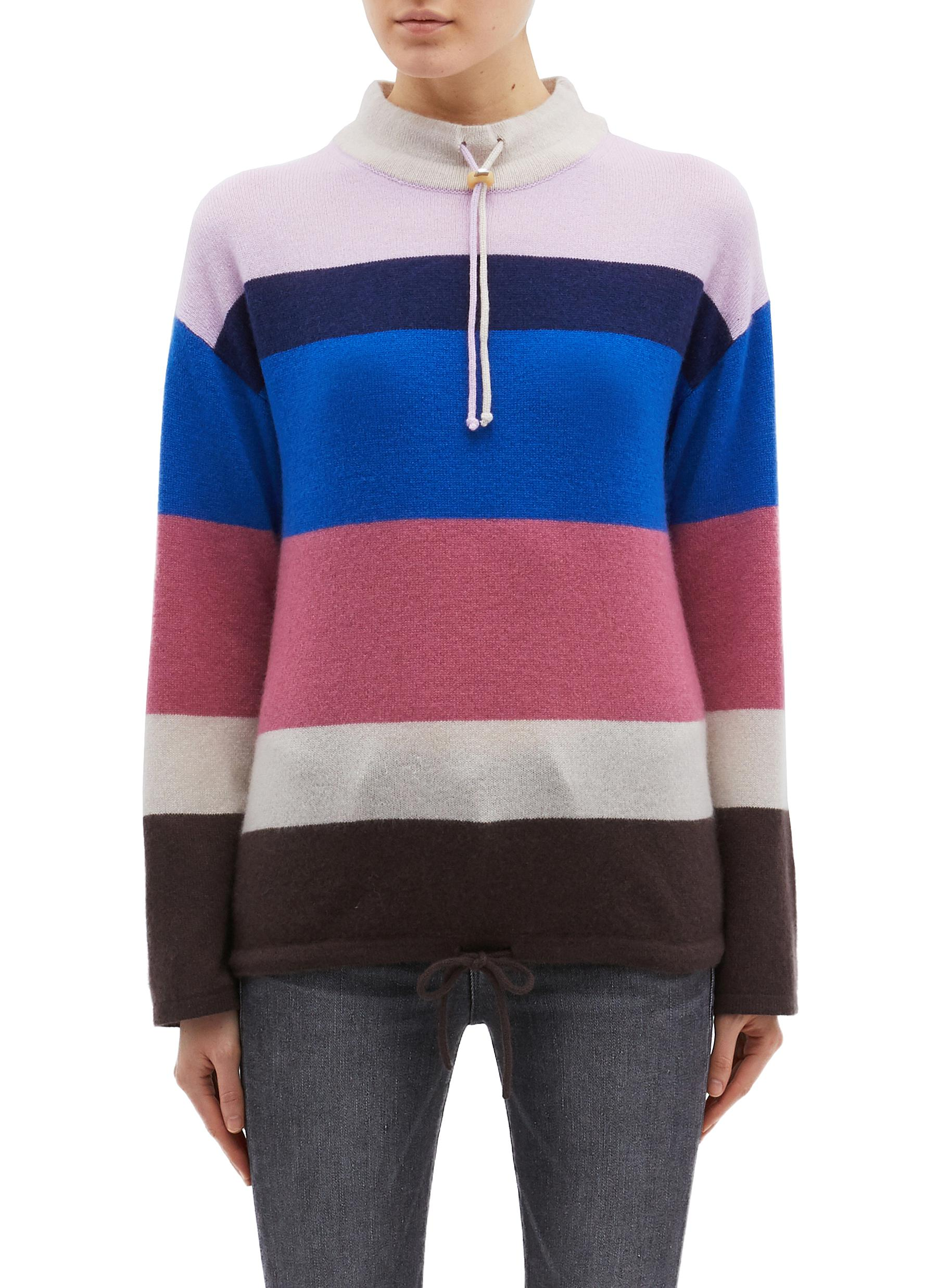 shop Theory Drawcord collar stripe oversized cashmere sweater online