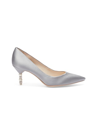 Main View - Click To Enlarge - Sophia Webster - 'Coco' crystal pavé bead heel satin pumps