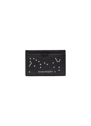 Main View - Click To Enlarge - ALEXANDER MCQUEEN - Stud skull leather card holder