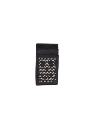 Figure View - Click To Enlarge - ALEXANDER MCQUEEN - Stud skull leather card holder